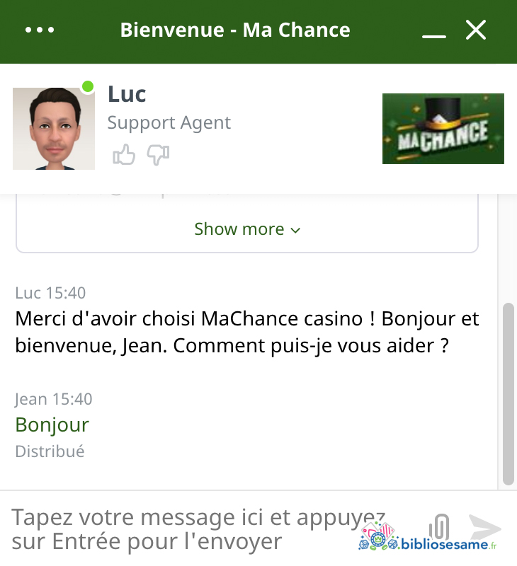 ma chance casino support