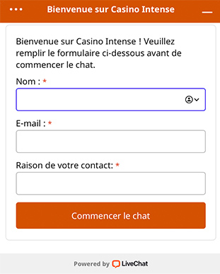 Live Chat Casino Intense